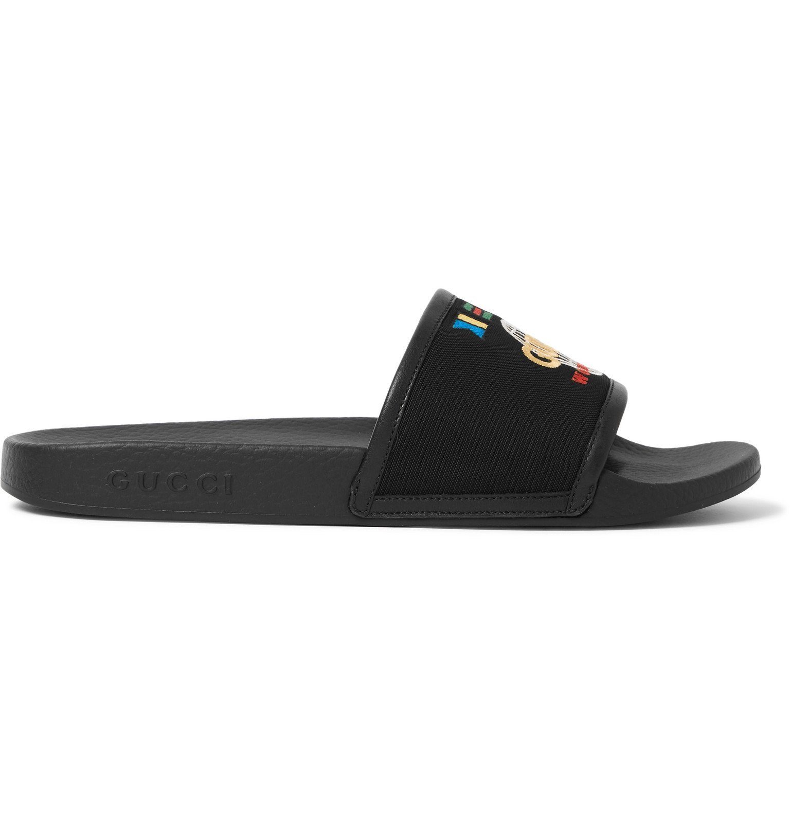 Photo: Gucci - Pursuit Logo-Embroidered Canvas and Rubber Slides - Black