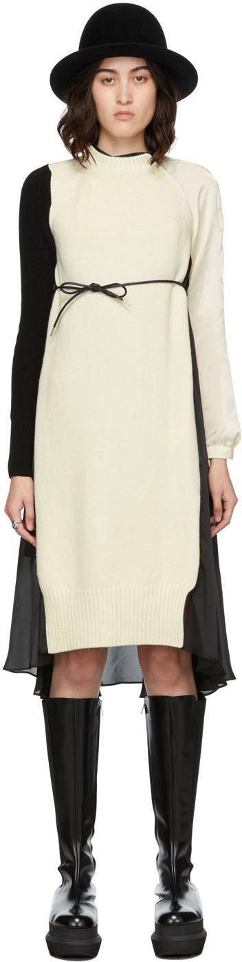 Photo: Sacai Off-White & Black Knit Wool & Satin Dress