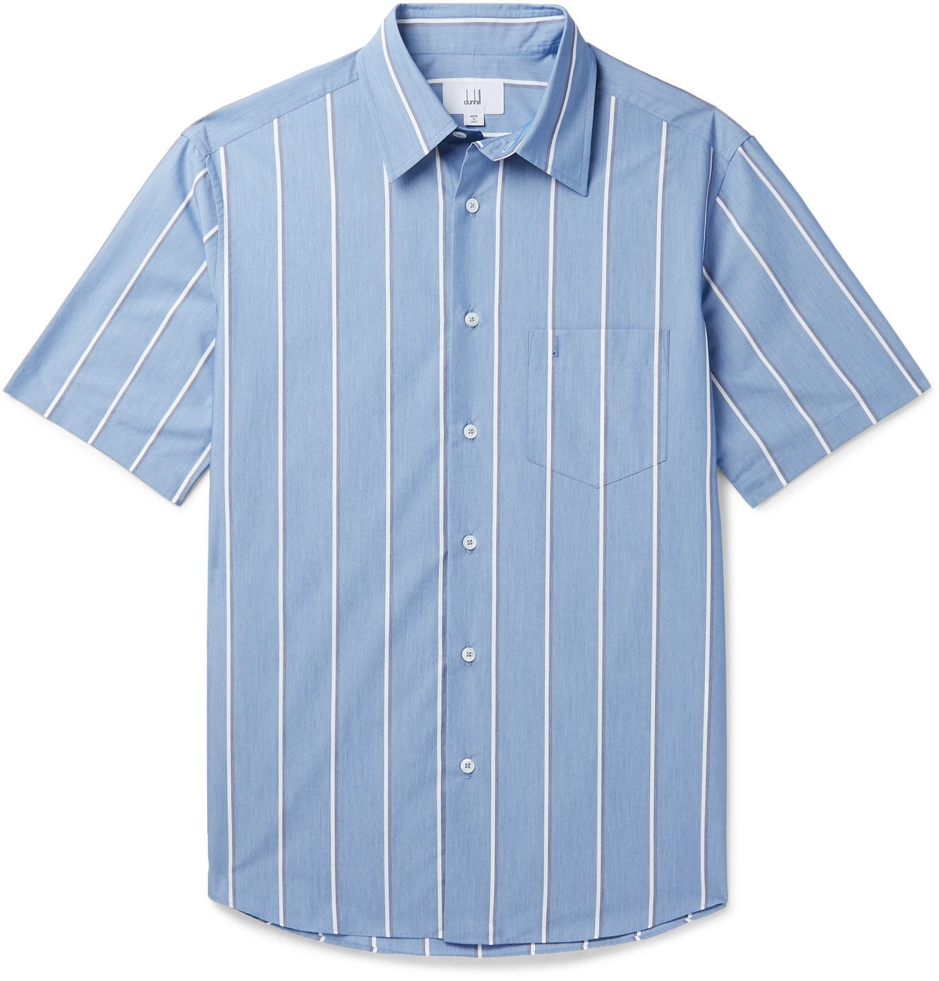 Photo: Dunhill - Striped Cotton-Blend Chambray Shirt - Blue