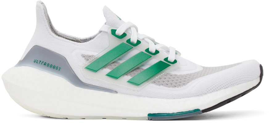 Photo: adidas Originals White & Green Ultraboost 21 Sneakers