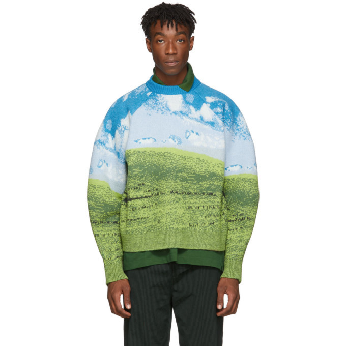 Photo: Sunnei Blue and Green Felted Woven Oversized Sweater