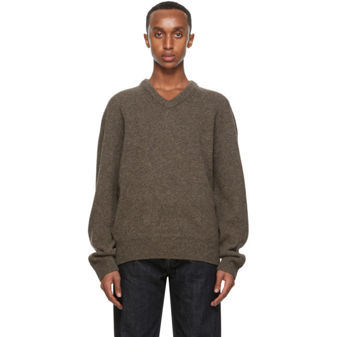 Photo: Lemaire Brown Shetland Wool V-Neck Sweater
