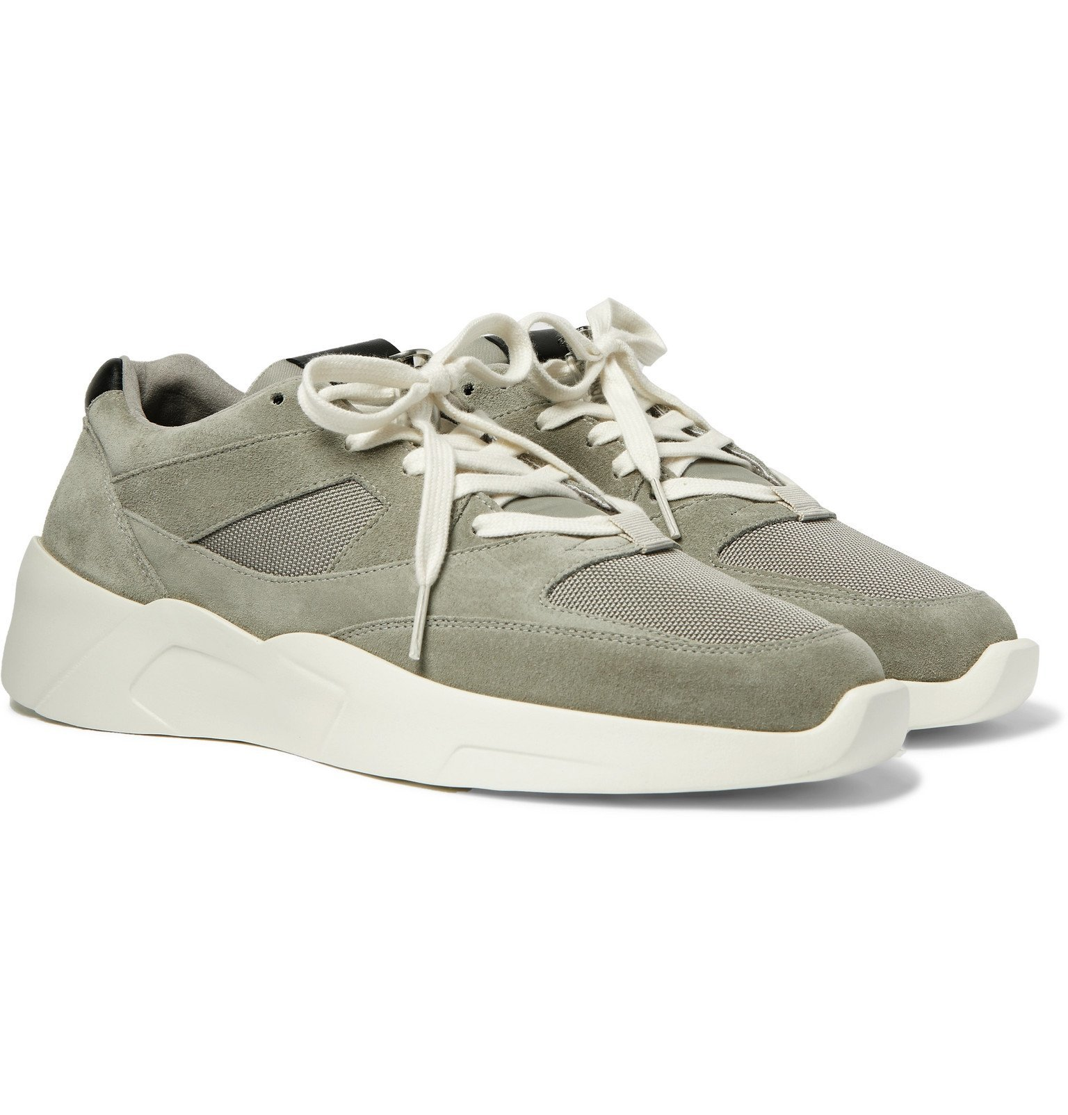 Photo: Fear of God Essentials - Leather-Trimmed Suede and Mesh Sneakers - Gray