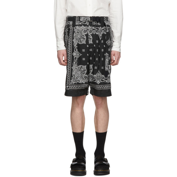 Photo: Sacai Black Bandana Print Shorts