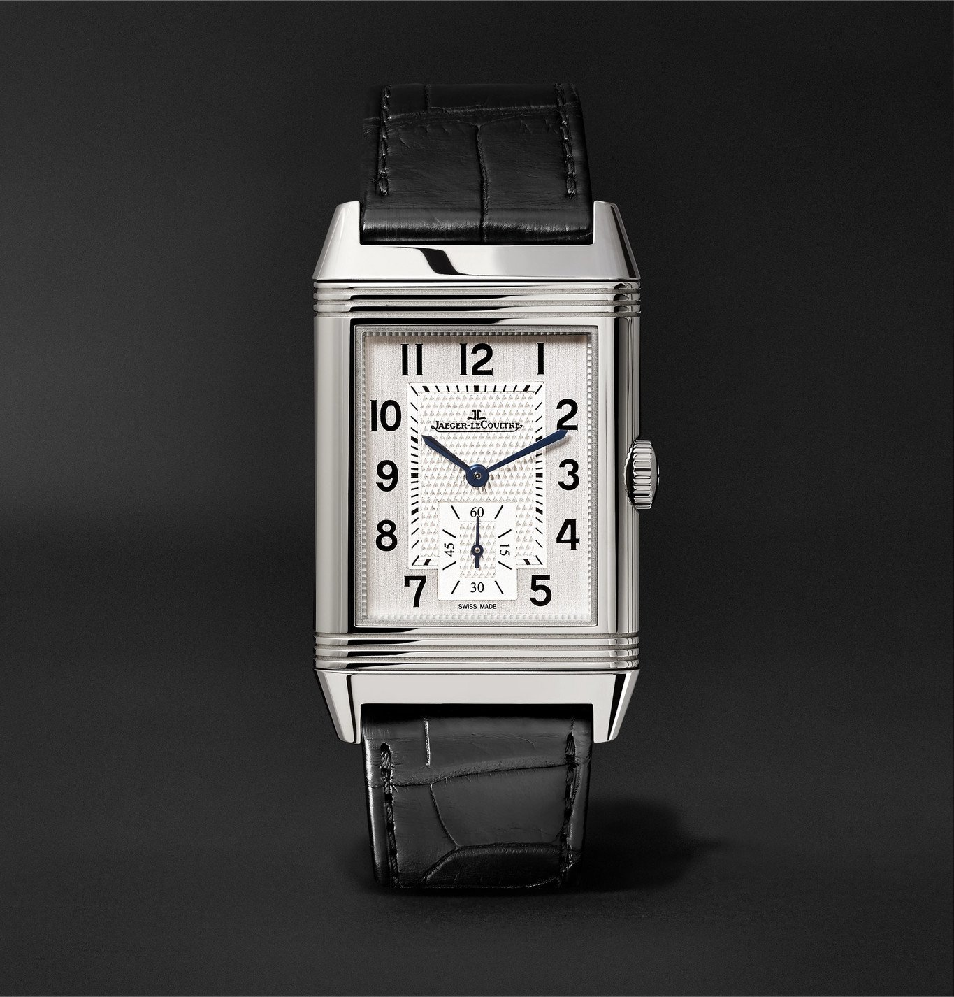 Photo: JAEGER-LECOULTRE - Reverso Classic Large Duoface Hand-Wound 28mm Stainless Steel and Leather Watch, Ref. No. JLQ3848420consMSNET60 - Silver
