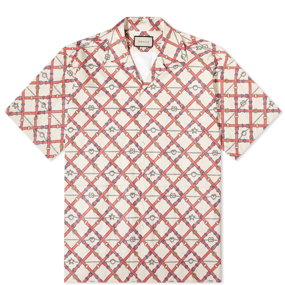 Photo: Gucci Belt Chest Wrinkled Bowling Shirt