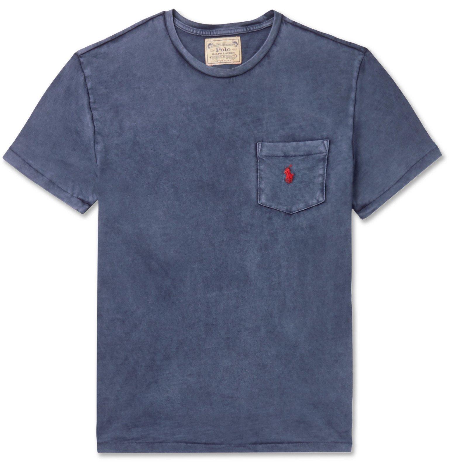 Photo: Polo Ralph Lauren - Garment-Dyed Slub Cotton-Jersey T-Shirt - Blue