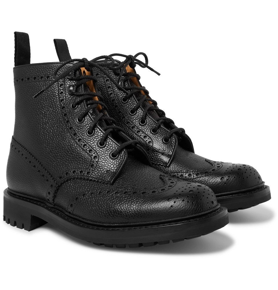 Photo: Church's - Mac Farlane 2 Pebble-Grain Brogue Boots - Black