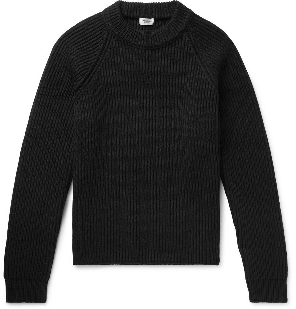 Photo: SAINT LAURENT - Ribbed Wool and Cashmere-Blend Sweater - Black