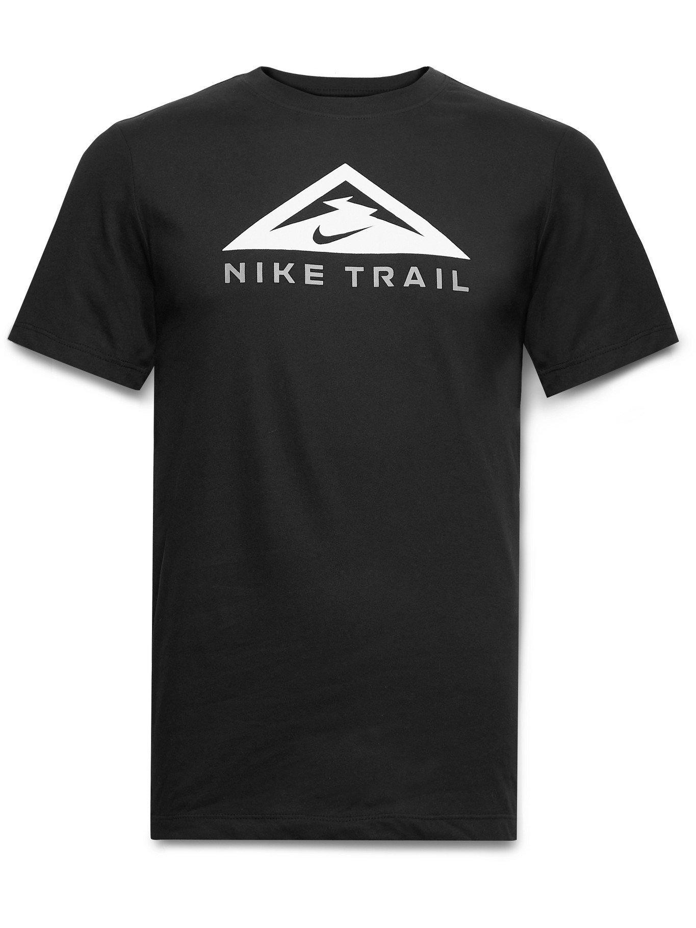 NIKE RUNNING - Trail Logo-Print Dri-FIT Cotton-Blend Jersey T-Shirt - Black - M