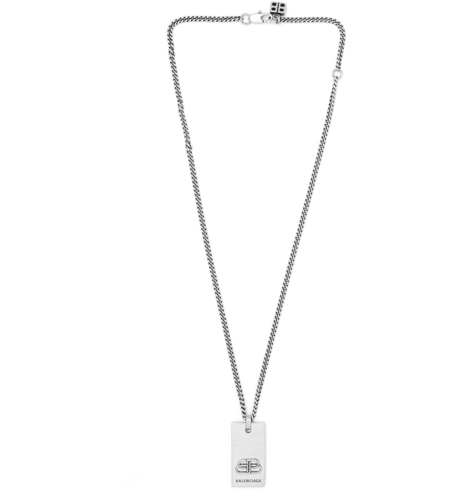 Photo: Balenciaga - Logo-Engraved Silver-Tone Necklace - Silver