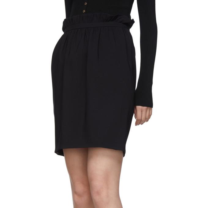 Versace Black Silk Pleated Waist Miniskirt