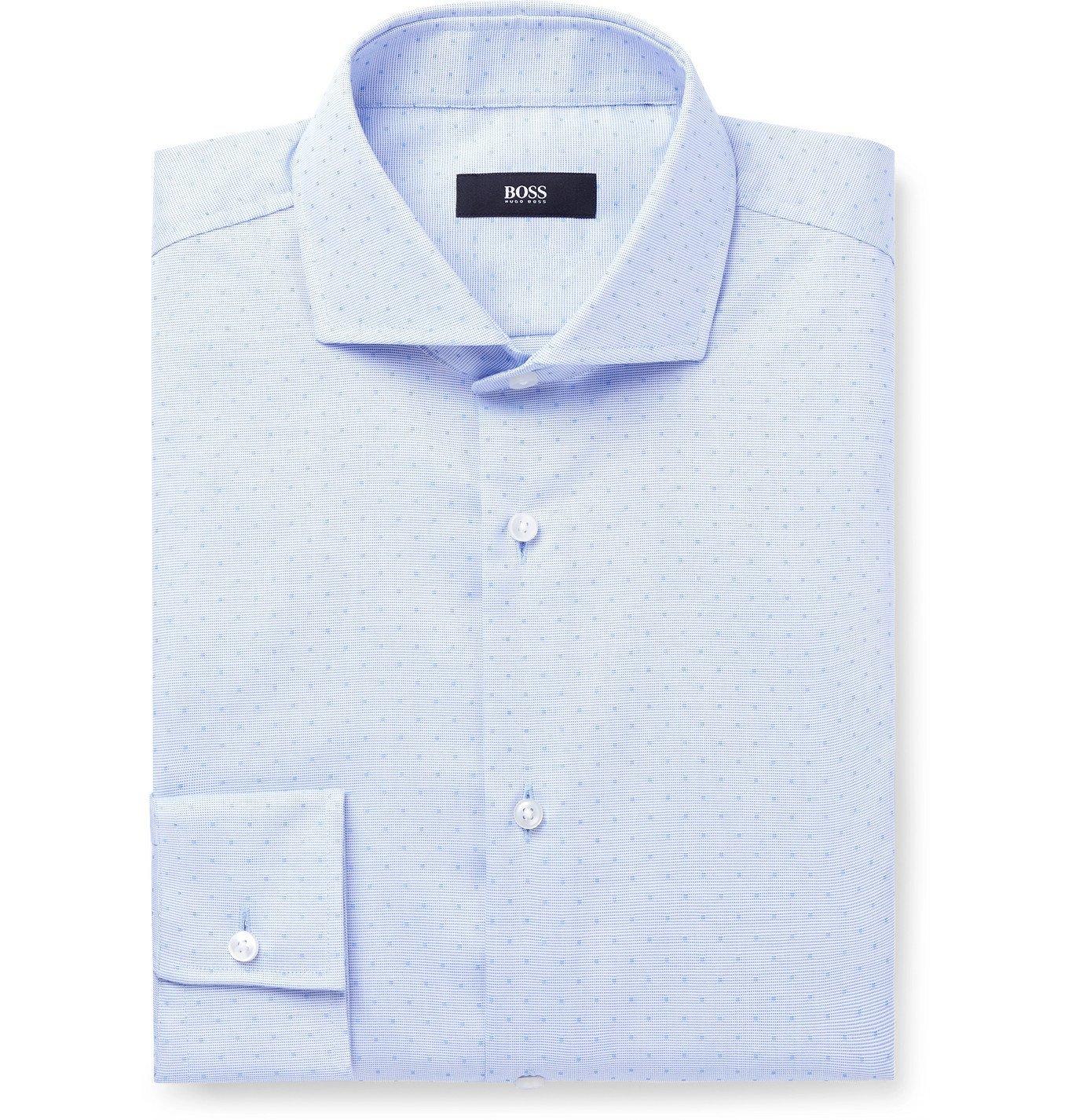 Photo: HUGO BOSS - Jason Slim-Fit Cotton-Dobby Shirt - Blue