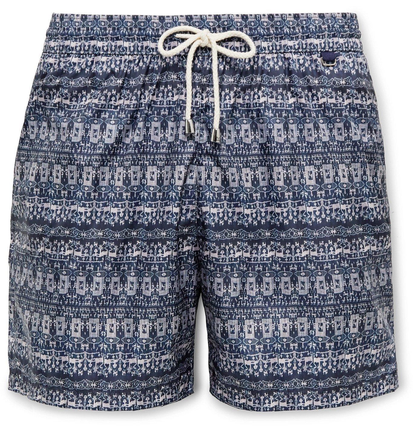 Photo: Rubinacci - Mid-Length Printed Swim Shorts - Blue