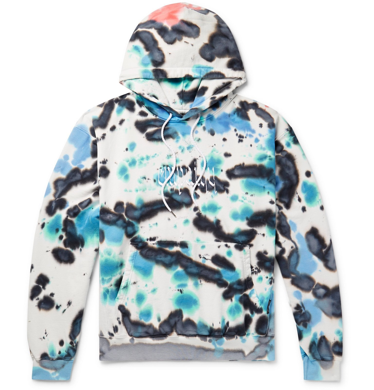 Photo: Resort Corps - Embroidered Tie-Dyed Loopback Cotton-Jersey Hoodie - Blue