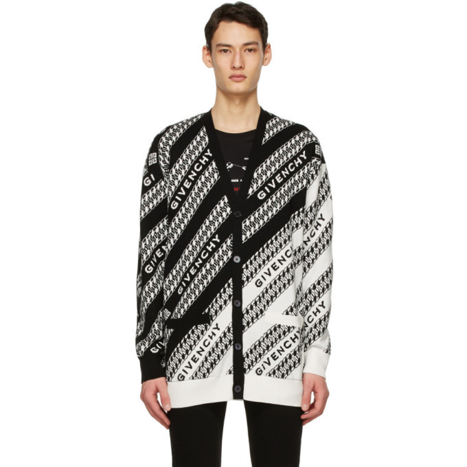 Photo: Givenchy Black and White Oversized Chain Cardigan