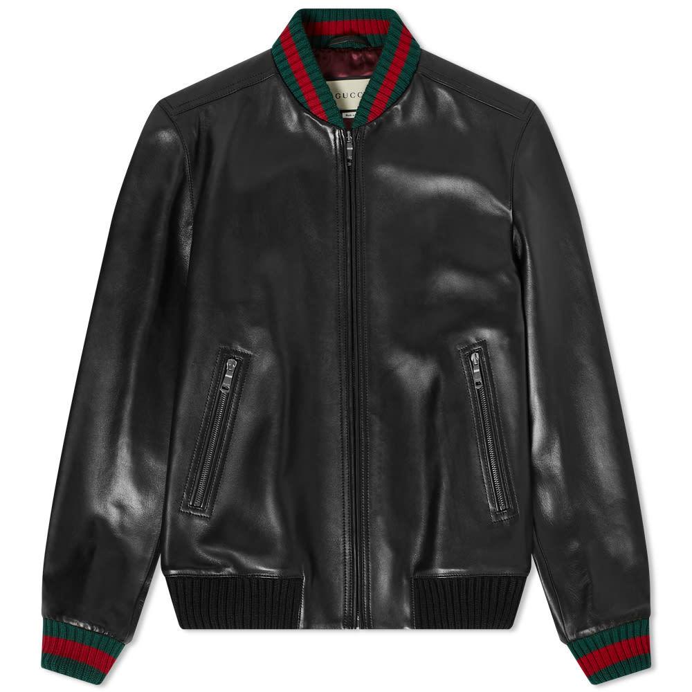 Photo: Gucci GRG Taped Leather Bomber Jacket
