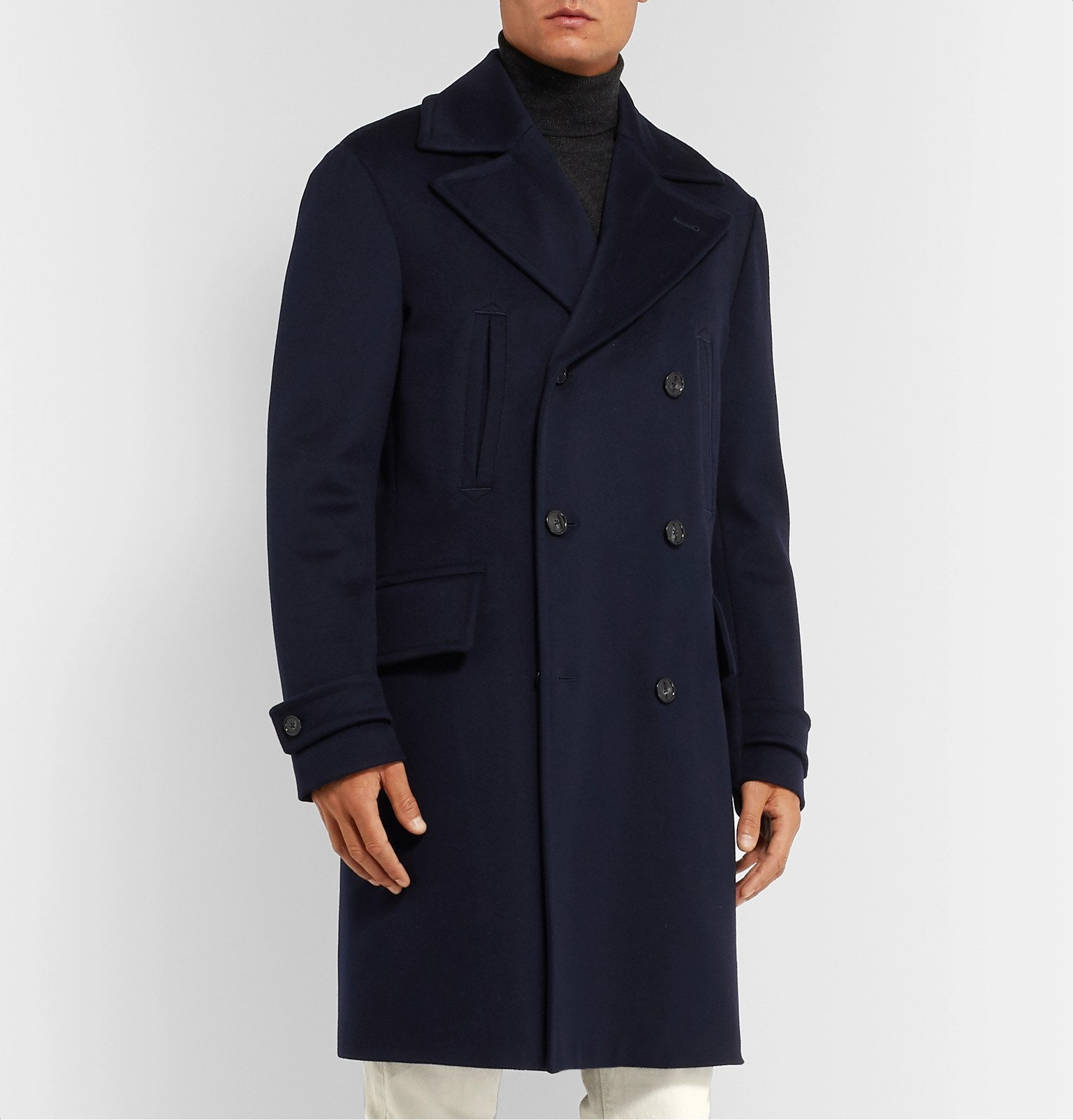 Officine Generale - Scott Double-Breasted Storm System Wool Coat - Blue