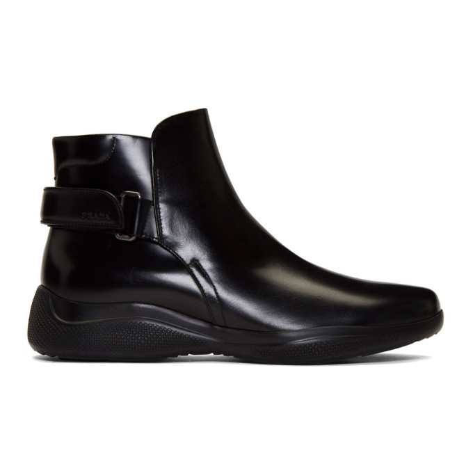 Photo: Prada Black Brushed Leather Ankle Boots