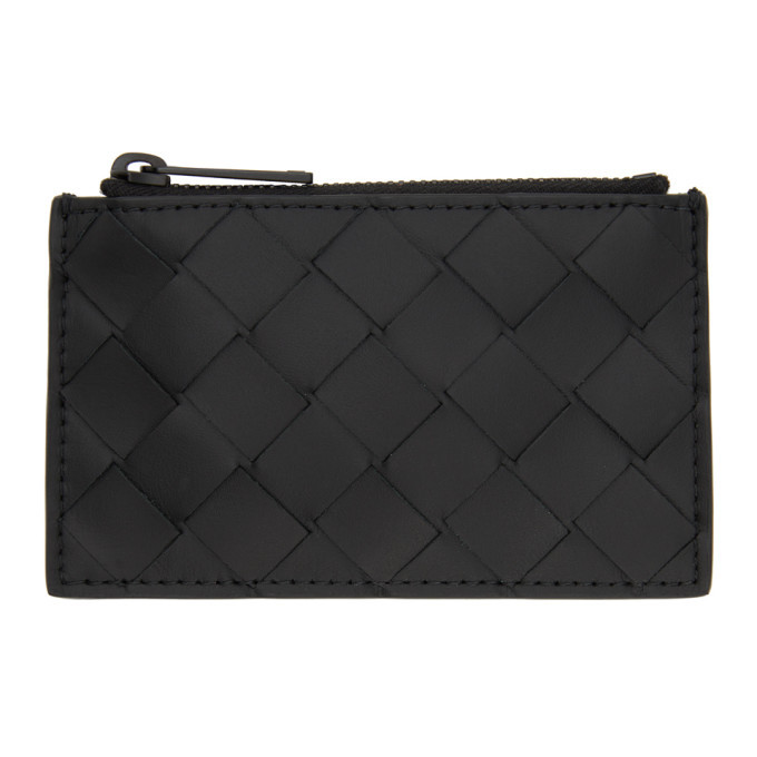 Photo: Bottega Veneta Black Intrecciato Zip Card Holder