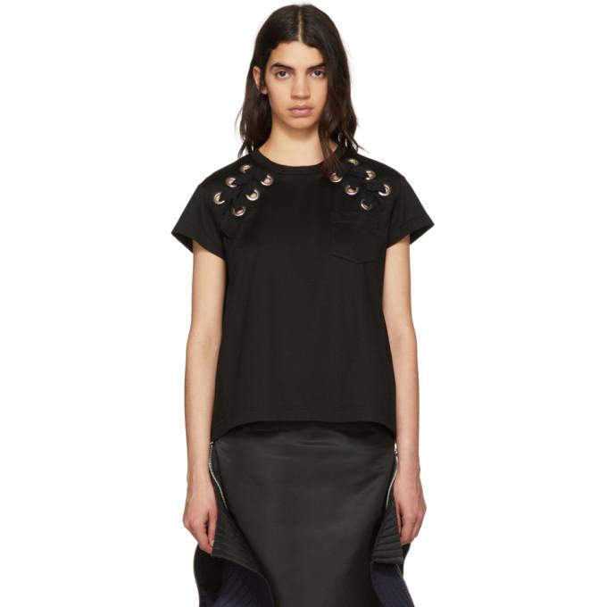Sacai Black Lace-Up T-Shirt