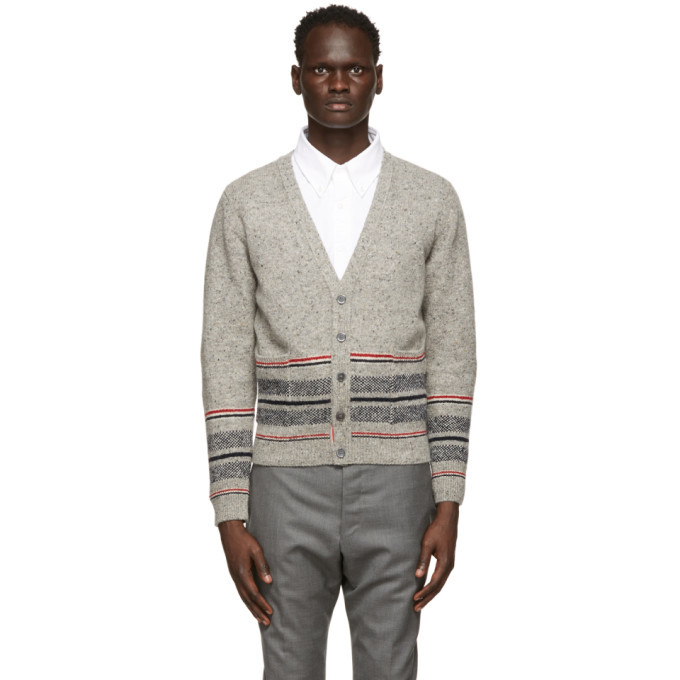 Photo: Thom Browne Grey Mohair Jacquard Cricket Stripe Cardigan