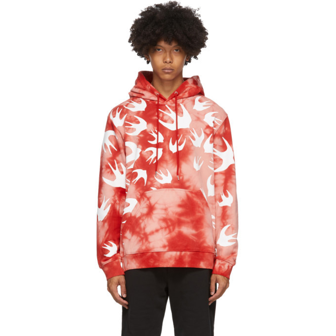 Photo: McQ Alexander McQueen Pink and Red Tie-Dye Swallows Hoodie