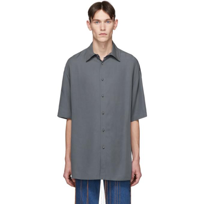 Photo: Valentino Grey Lyocell Short Sleeve Shirt