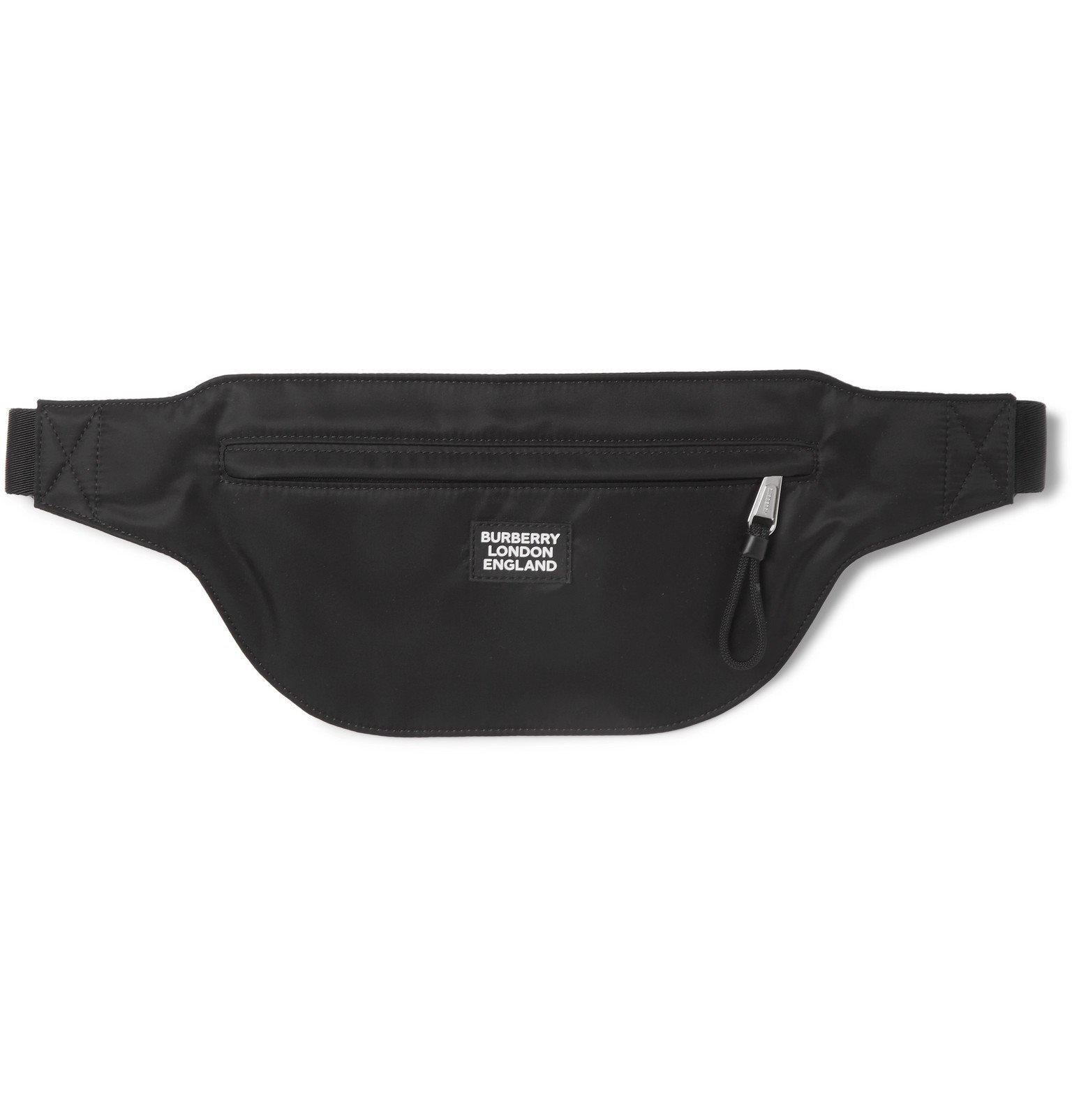 Photo: Burberry - Logo-Appliquéd Leather-Trimmed ECONYL Belt Bag - Black