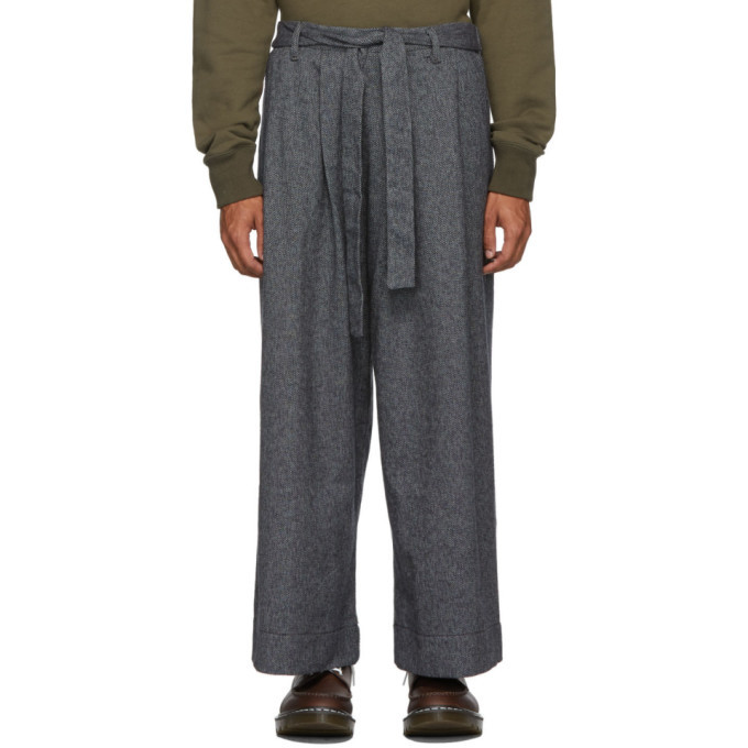 Photo: Naked and Famous Denim Grey Tweed Wide Trousers