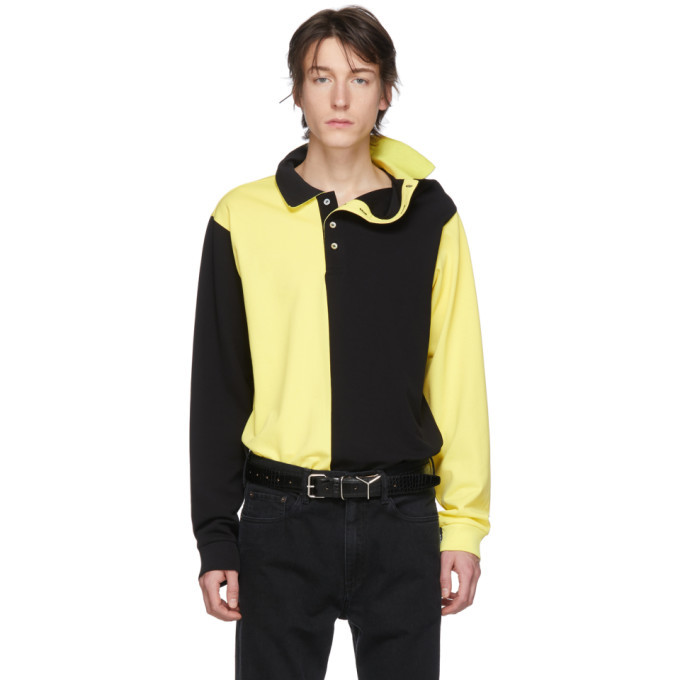 Photo: Y/Project Black and Yellow Asymmetric Collar Polo