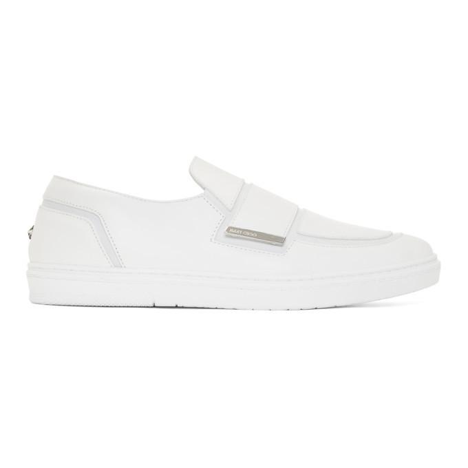 Jimmy Choo White Leather Guy Slip-On Sneakers m5RSIV9xV