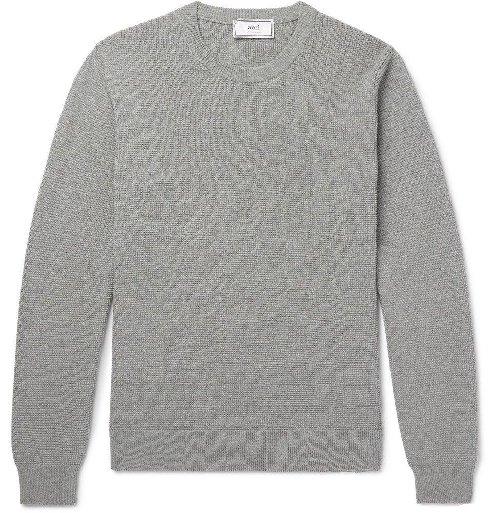 Photo: AMI - Waffle-Knit Cotton Sweater - Gray