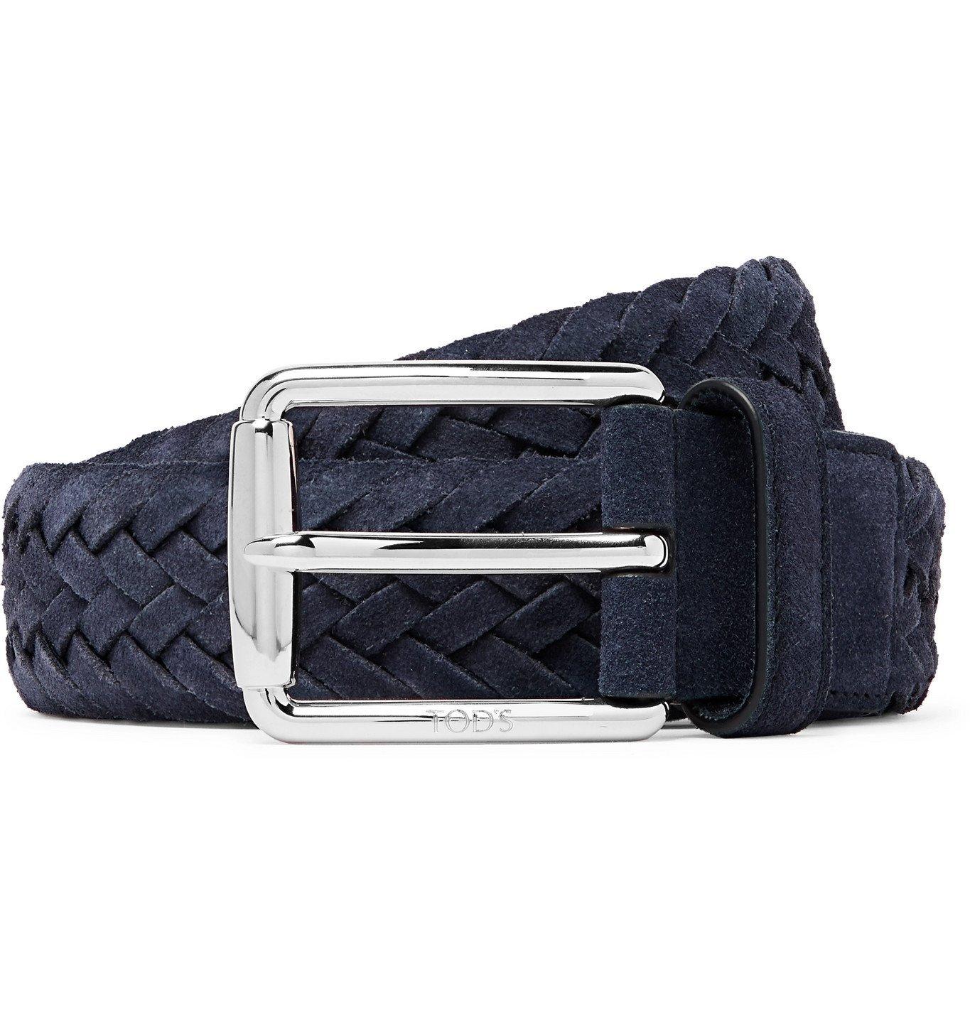 Photo: Tod's - 3.5cm Woven Suede Belt - Blue