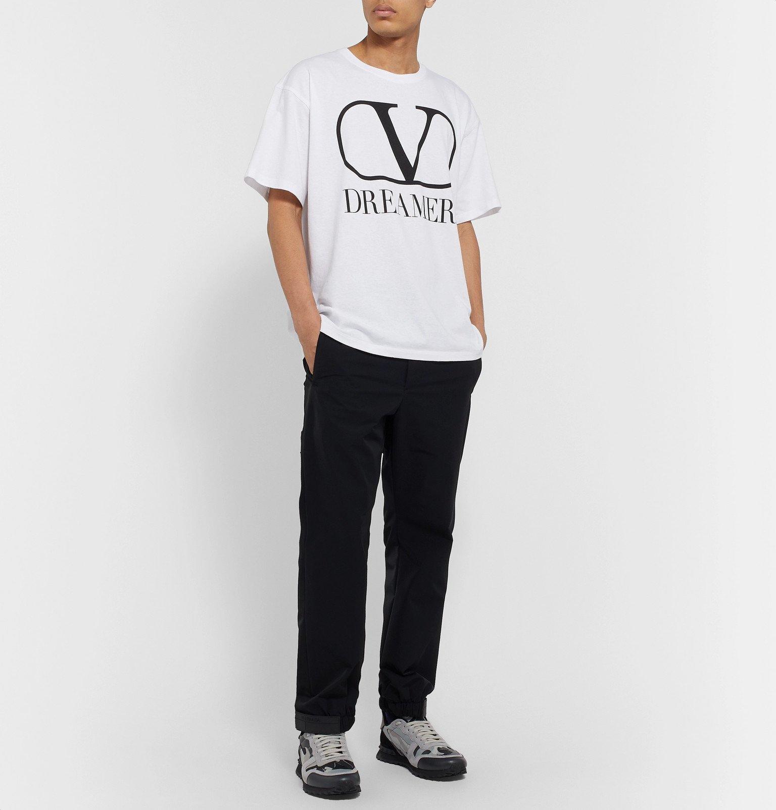 Valentino - Logo-Print Cotton-Jersey T-Shirt - White