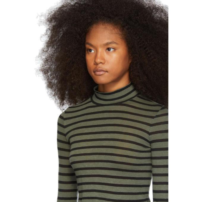 alexanderwang.t Khaki Striped Slub Mock Neck Sweater
