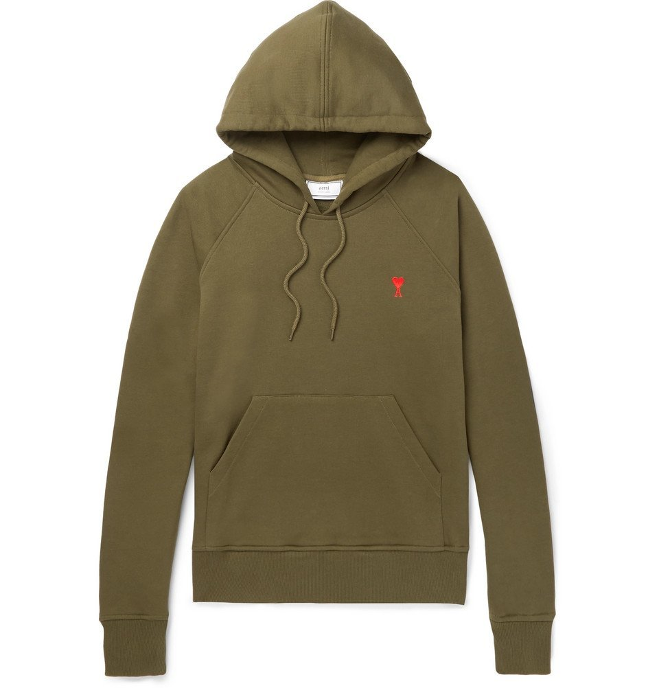 Photo: AMI - Embroidered Loopback Cotton-Jersey Hoodie - Men - Green