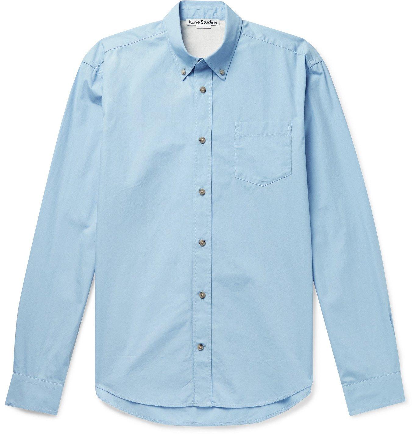 Photo: ACNE STUDIOS - Sarkis Button-Down Collar Cotton-Poplin Shirt - Blue