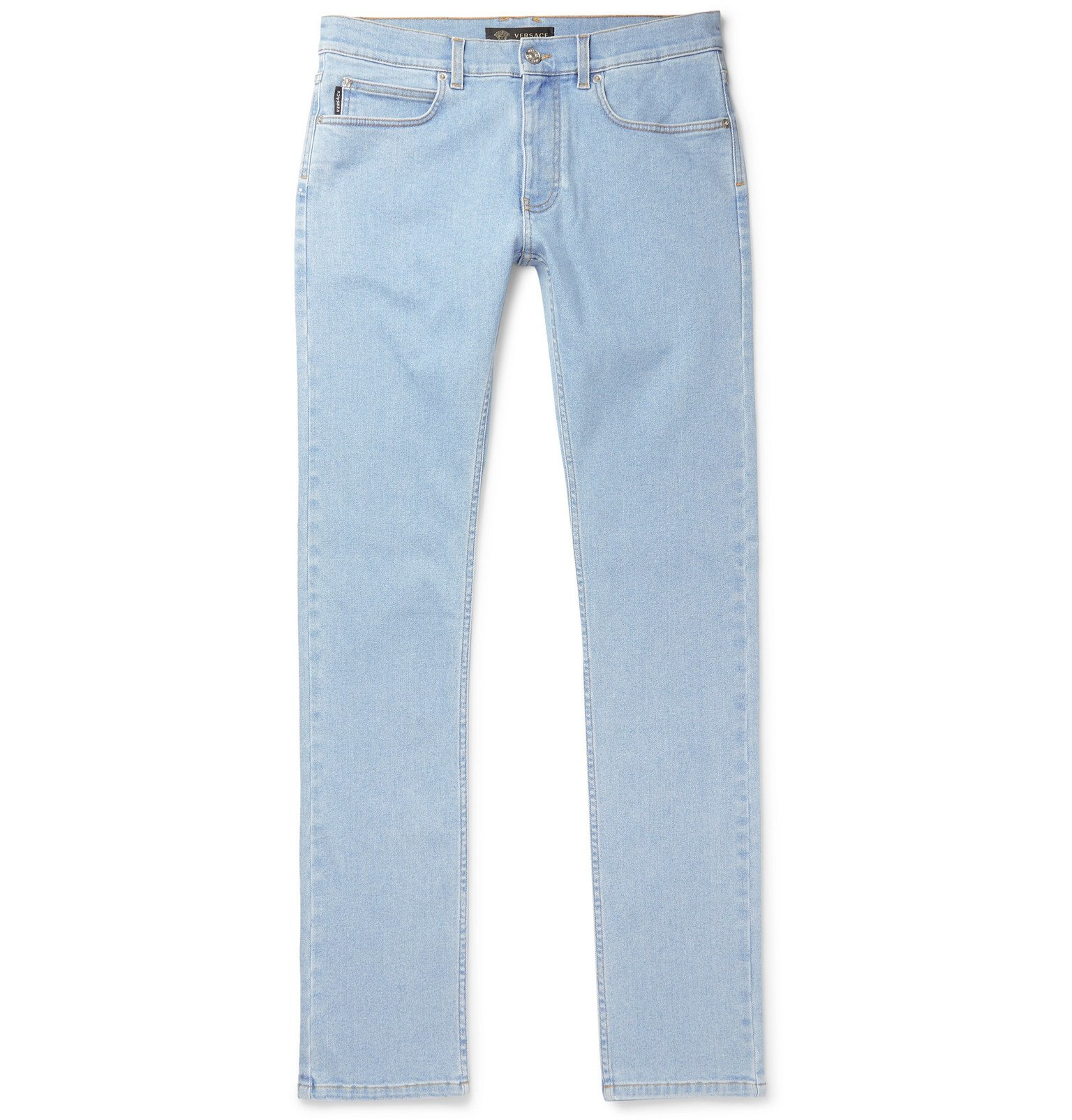 Versace - Taylor Skinny Fit Logo-Embroidered Printed Stretch-Denim Jeans - Blue