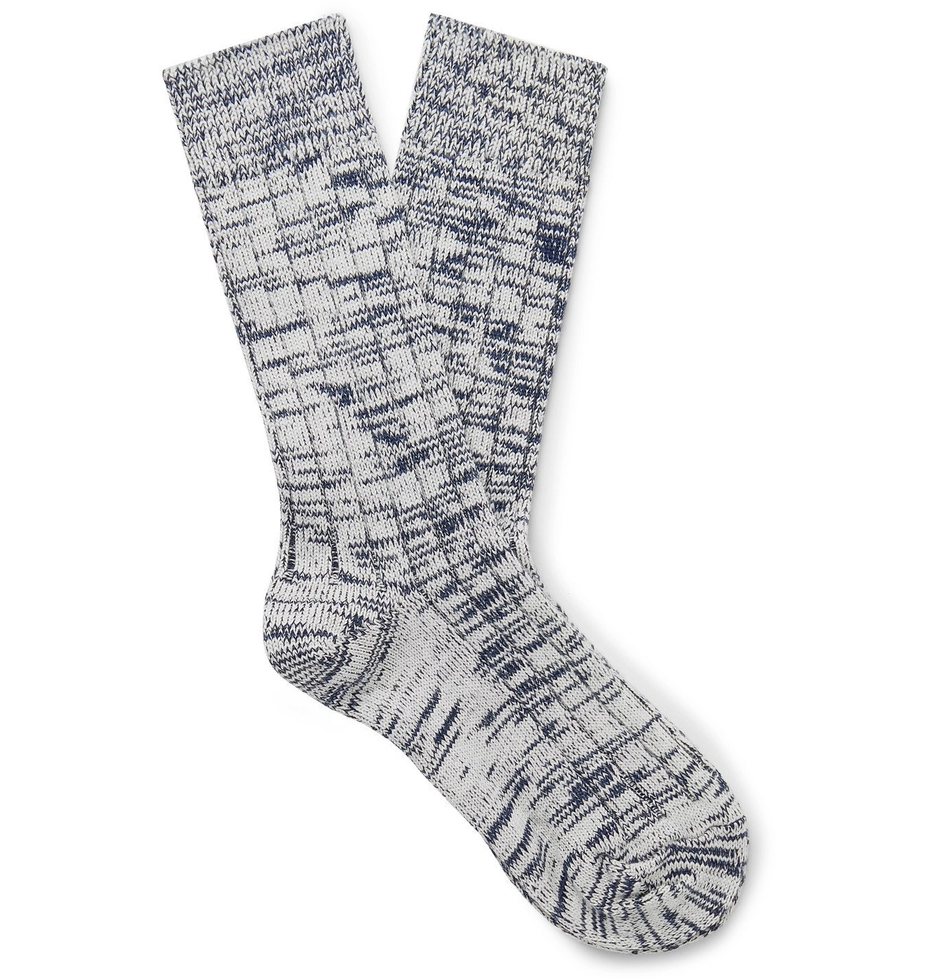 Photo: The Workers Club - Ribbed Space-Dyed Merino Wool-Blend Socks - Blue