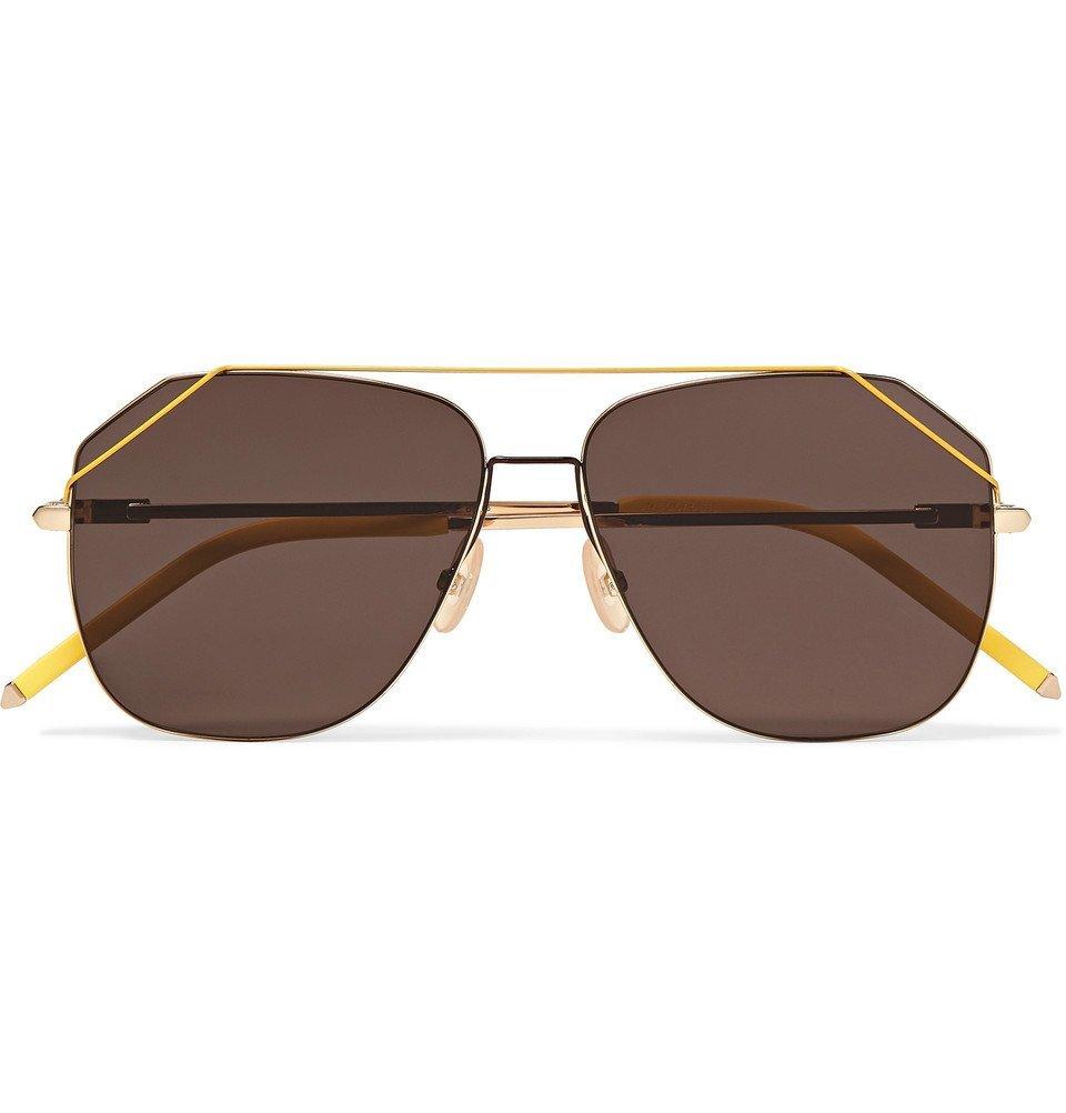 Photo: Fendi - Aviator-Style Gold-Tone Sunglasses - Yellow