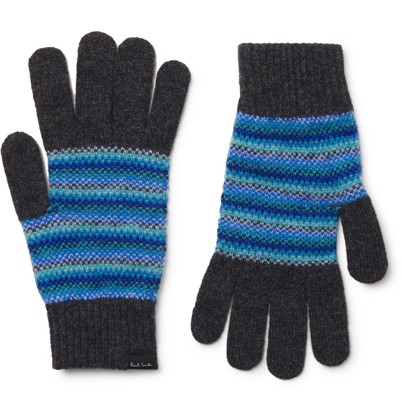 Photo: Paul Smith - Striped Wool Gloves - Blue