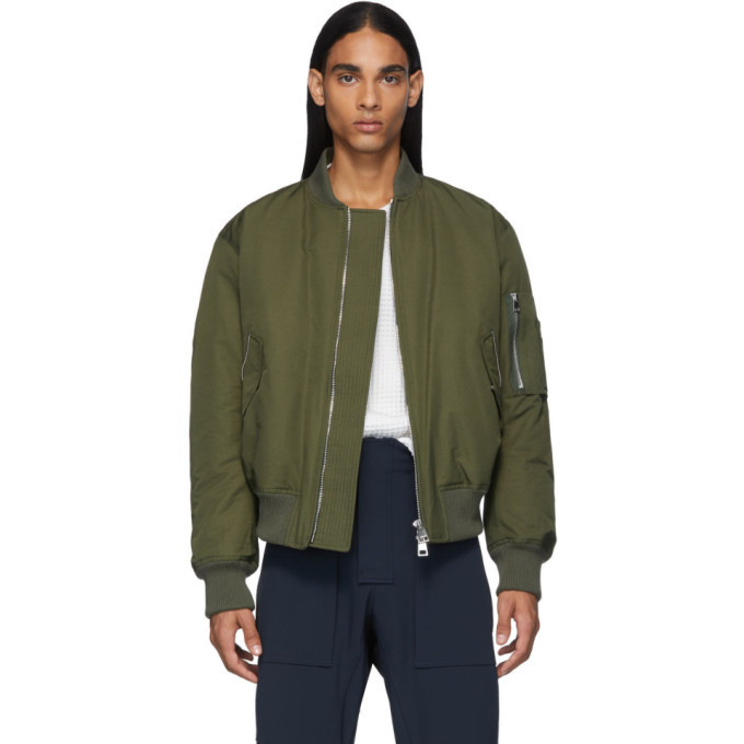 Photo: Bottega Veneta Green Woven Bomber Jacket