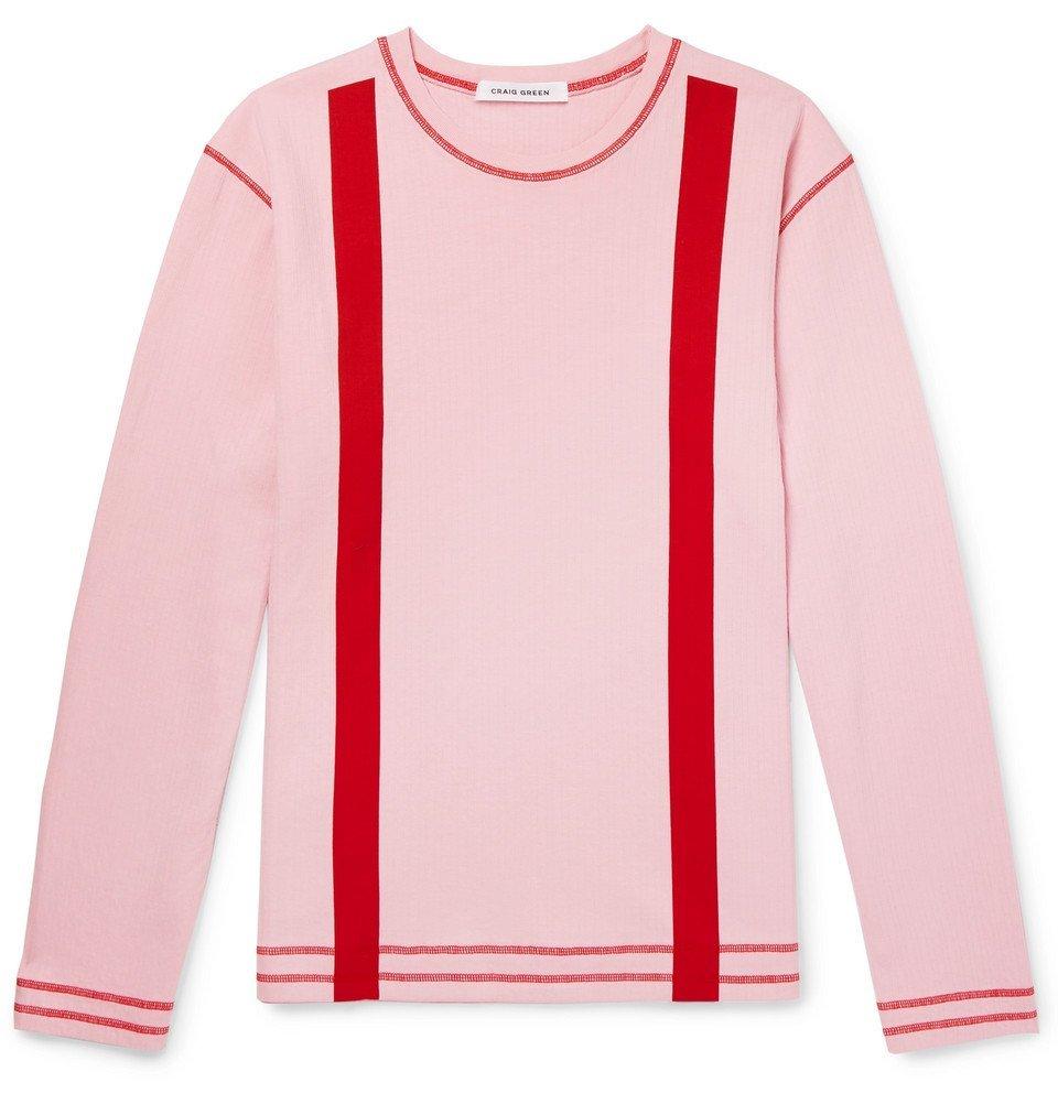Photo: Craig Green - Striped Cotton-Jersey Sweatshirt - Pink