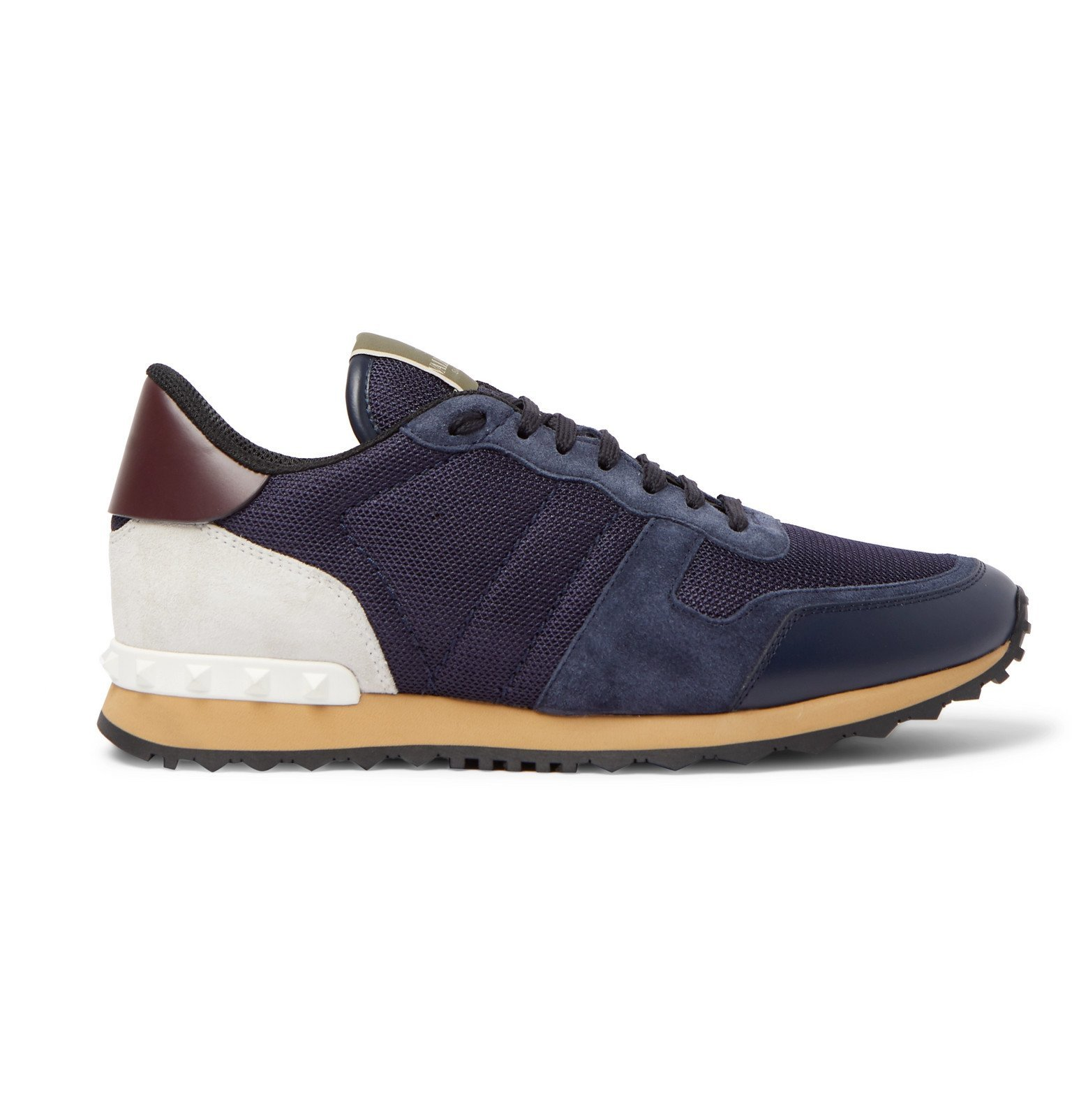 Valentino - Valentino Garavani Rockrunner Suede, Leather and Canvas Sneakers - Blue