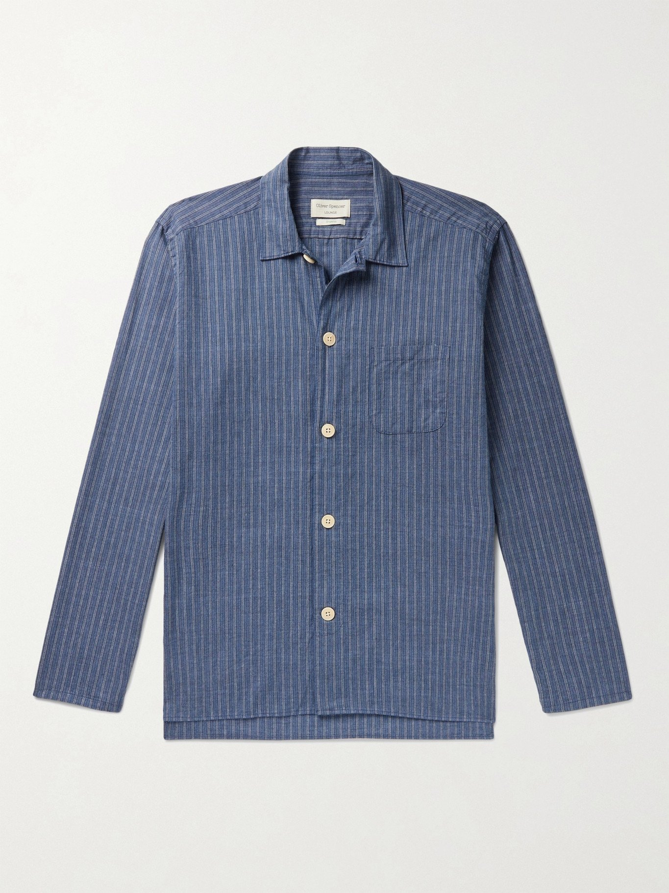Photo: Oliver Spencer Loungewear - Townsend Striped Organic Cotton Pyjama Shirt - Blue