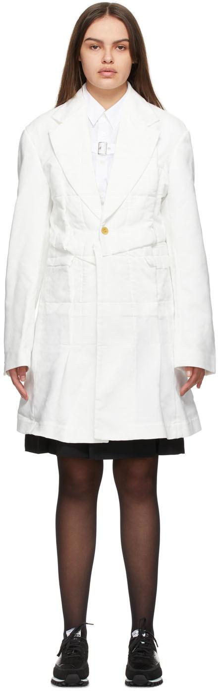 Comme des Garçons Homme Plus White Twill Patchwork Coat