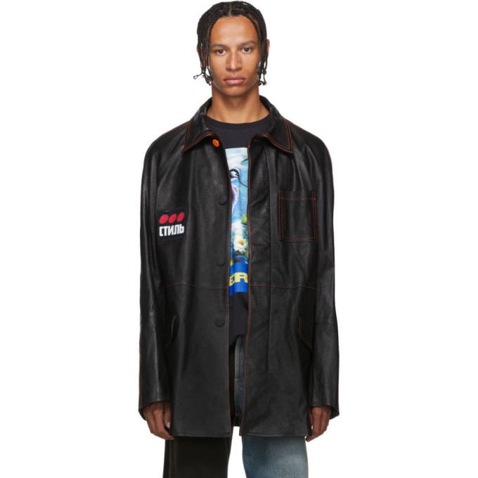 Photo: Heron Preston Black Leather Style Dots Jacket