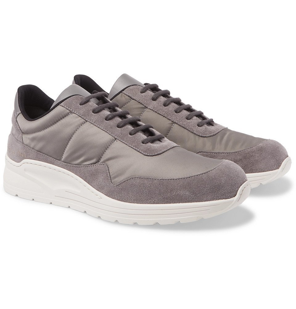 Photo: Common Projects - Cross Trainer Suede, Nylon and Leather Sneakers - Gray