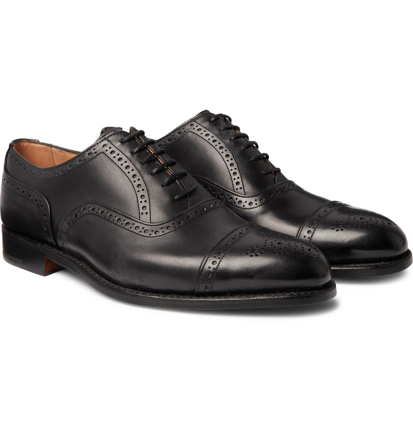 Photo: Tricker's - Stockton Leather Brogue Oxford Shoes - Black
